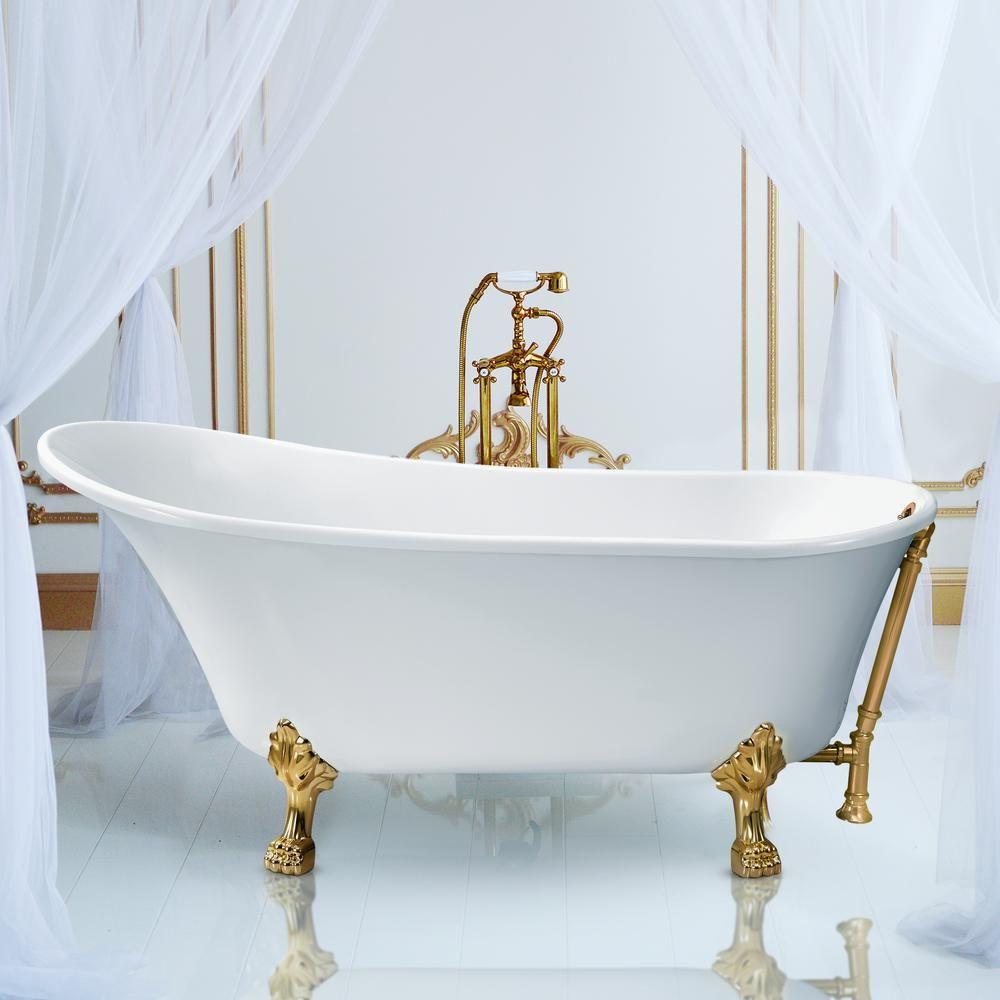 Streamline 59 1 In Acrylic Clawfoot Non Whirlpool Bathtub In