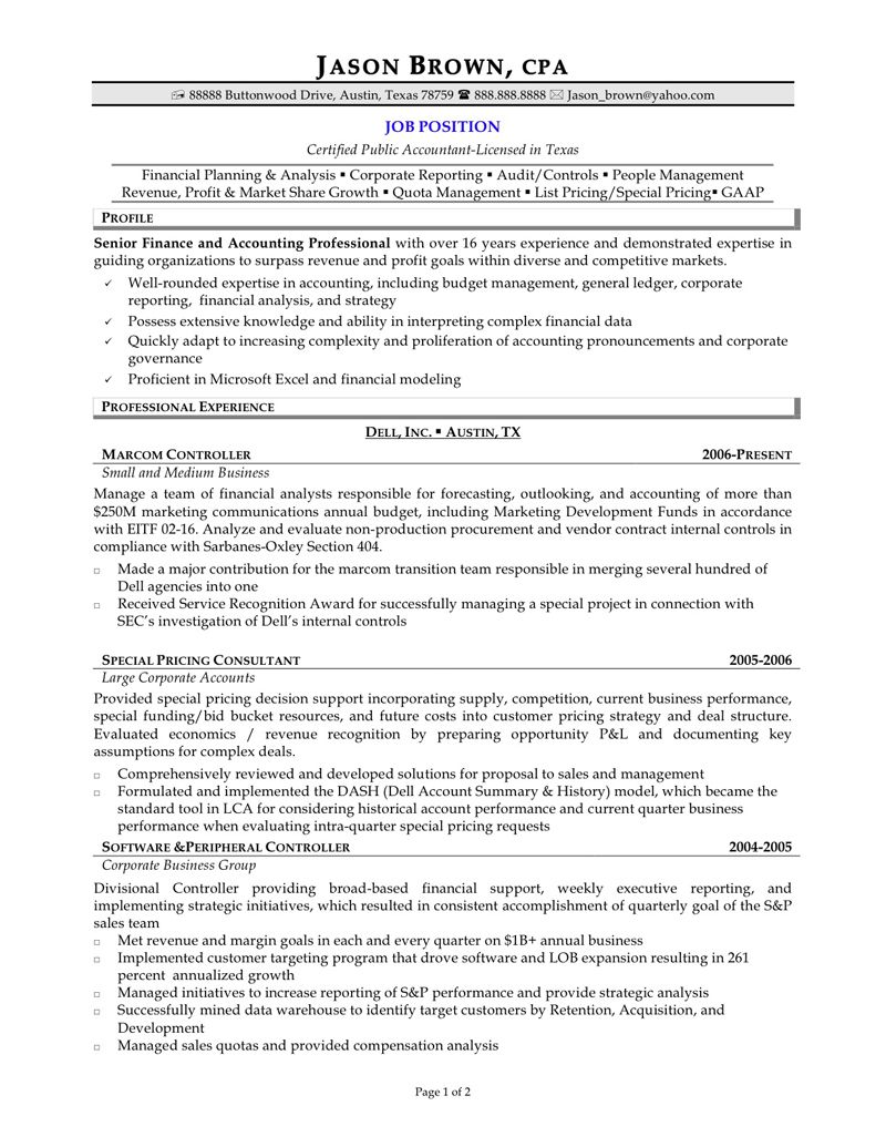 Senior Accountant Resume Formatcareer Resume Template Career Resume Template Accountant Resume Professional Resume Samples Resume Profile