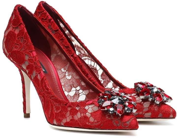 Dolce & Gabbana Belluci embellished lace pumps | Products in