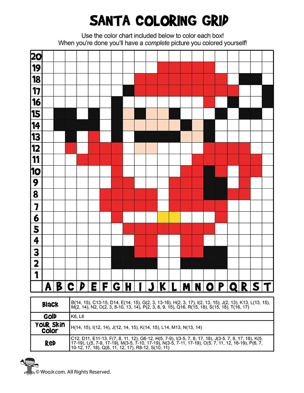 Santa Coloring Grid Page ANSWER KEY Woo! Jr. Kids