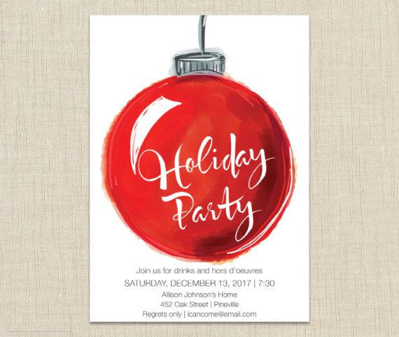 Christmas Party Invitation. Watercolor ornament invitation. Holiday Party Invitation