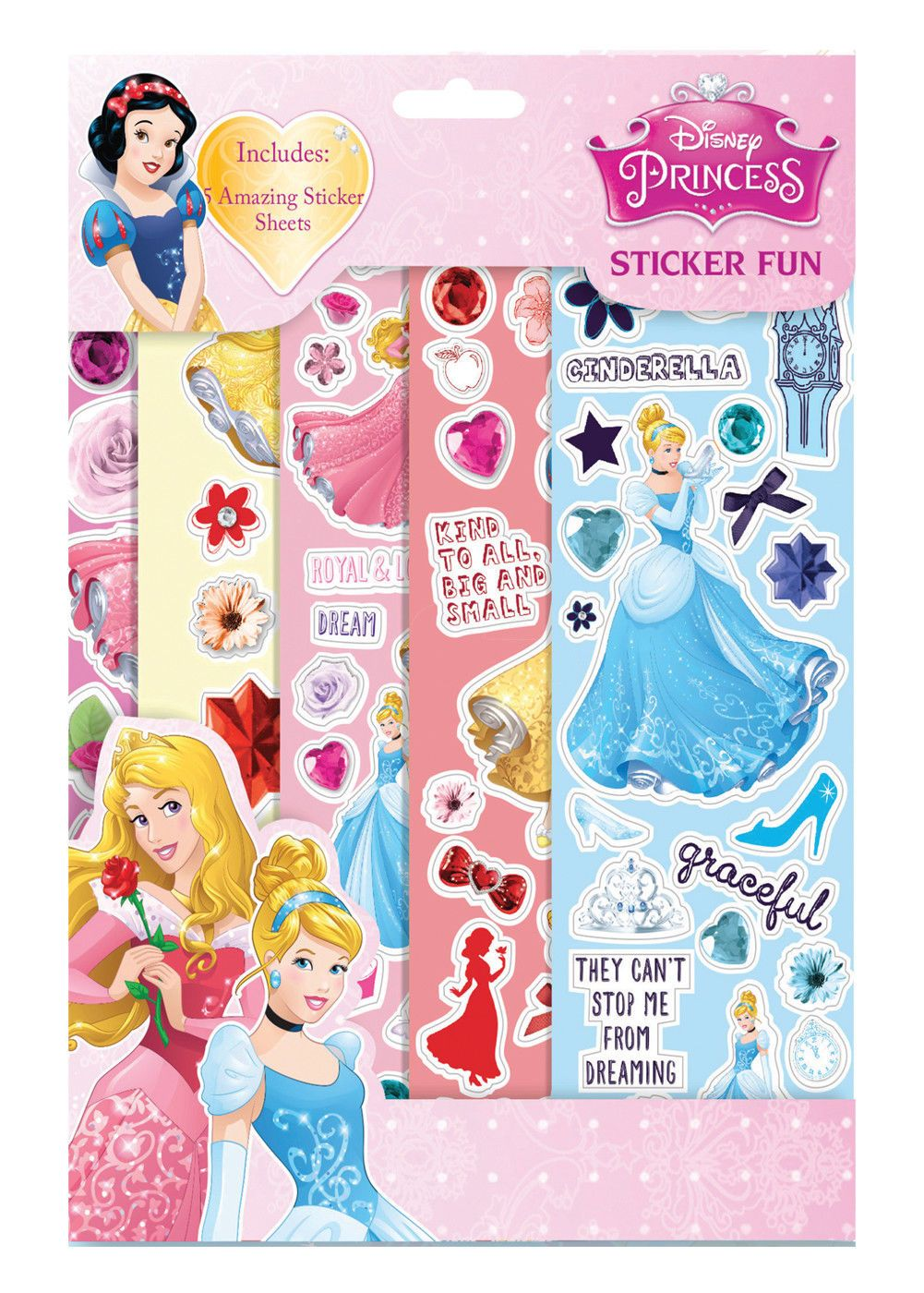 Disney Princess Pack of 5 Sheets Loot Bag Reusable Sticker Fun Kids Party
