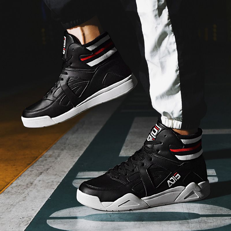 ca51d6938a Black Hidden Lift Skate Shoes Elastic Belt High Top Casual Sneakers ...