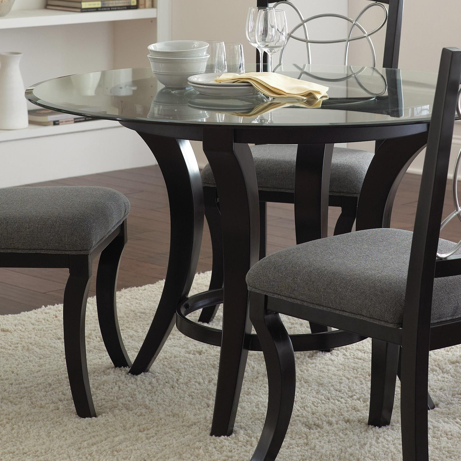 Cayman Round Dining Table Glass Top Wood Base Round Dining