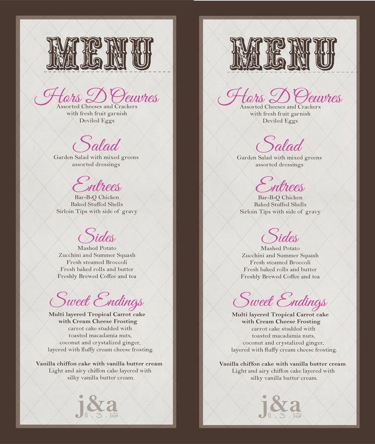 Wedding Menu Board Printable Buffet Diy Print