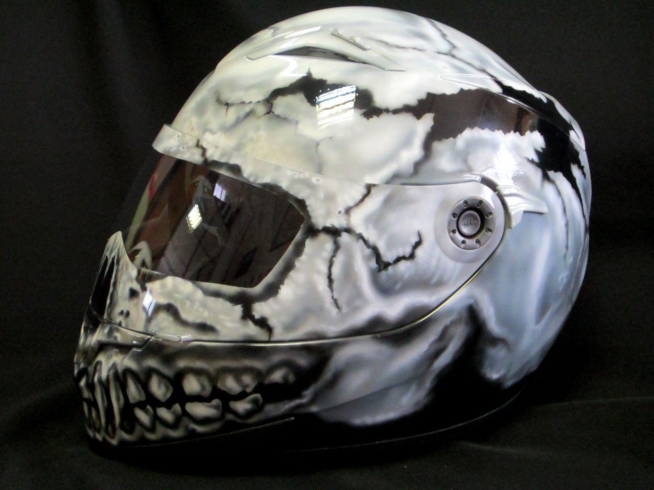 238adc876 Аэрография мотошлема Real Skull | Шлем | Шлем og Пинстрайпинг