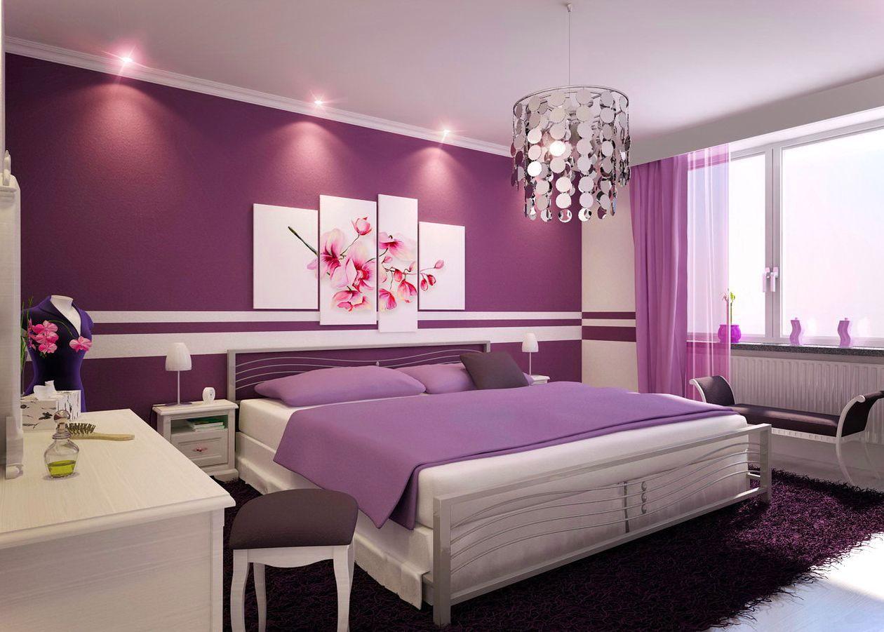 Bedroom Design With Beautiful Color Schemes Purple Bedroom