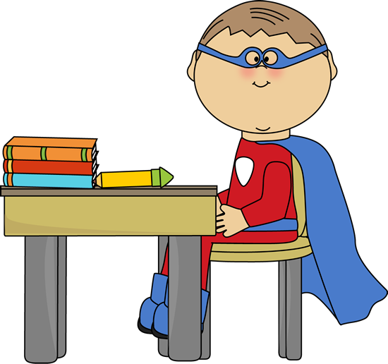 boy superhero at school desk clip art boy superhero at school rh pinterest co uk Animated Writing Clip Art Proper Writing Grip