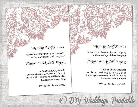 Wedding invitation template Antique Lace DIY wedding invitations
