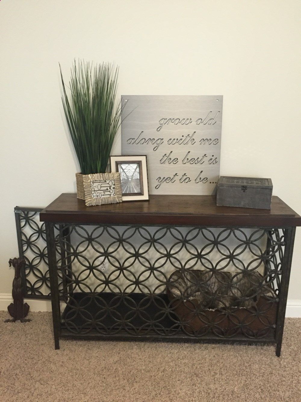 Turned a console table into a decorative dog crate Dog