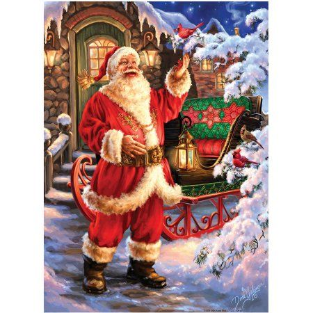 Holiday Glitter Puzzle, Jolly Saint Nick, 500 Pieces, Multicolor