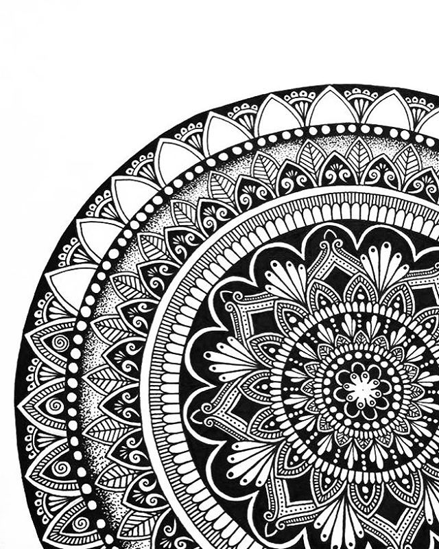 Mandala Doodle Zentangle Inspiration Black White Love The