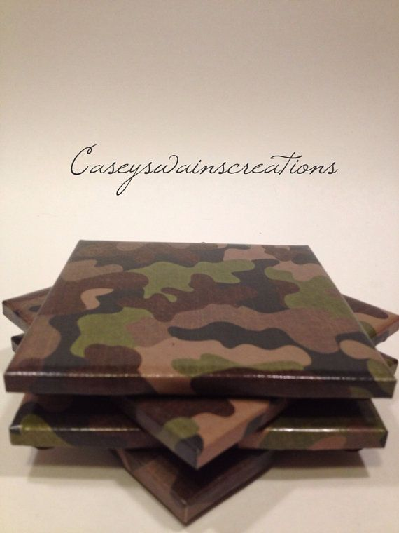Set of Four Camo Tile Coasters by CaseySwainsCreations on Etsy
