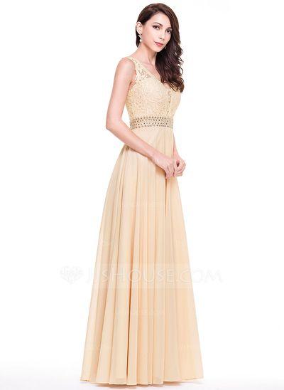A-Line/Princess V-neck Floor-Length Chiffon Lace Evening Dress With Beading (017065559)