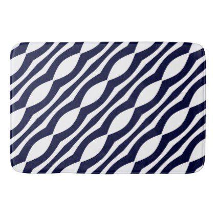 #vintage - #Blue And White Wavy Stripes Retro Pattern Bathroom Mat