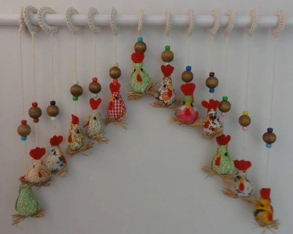 Cortina de galinhas de tecido com 13 tiras cada tira - Apliques para cortinas ...