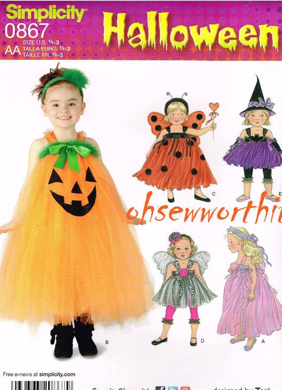 Simplicity 0867 Girl's Halloween Costume Pattern - Tulle Pumpkin, Ladybug, Witch, Princess