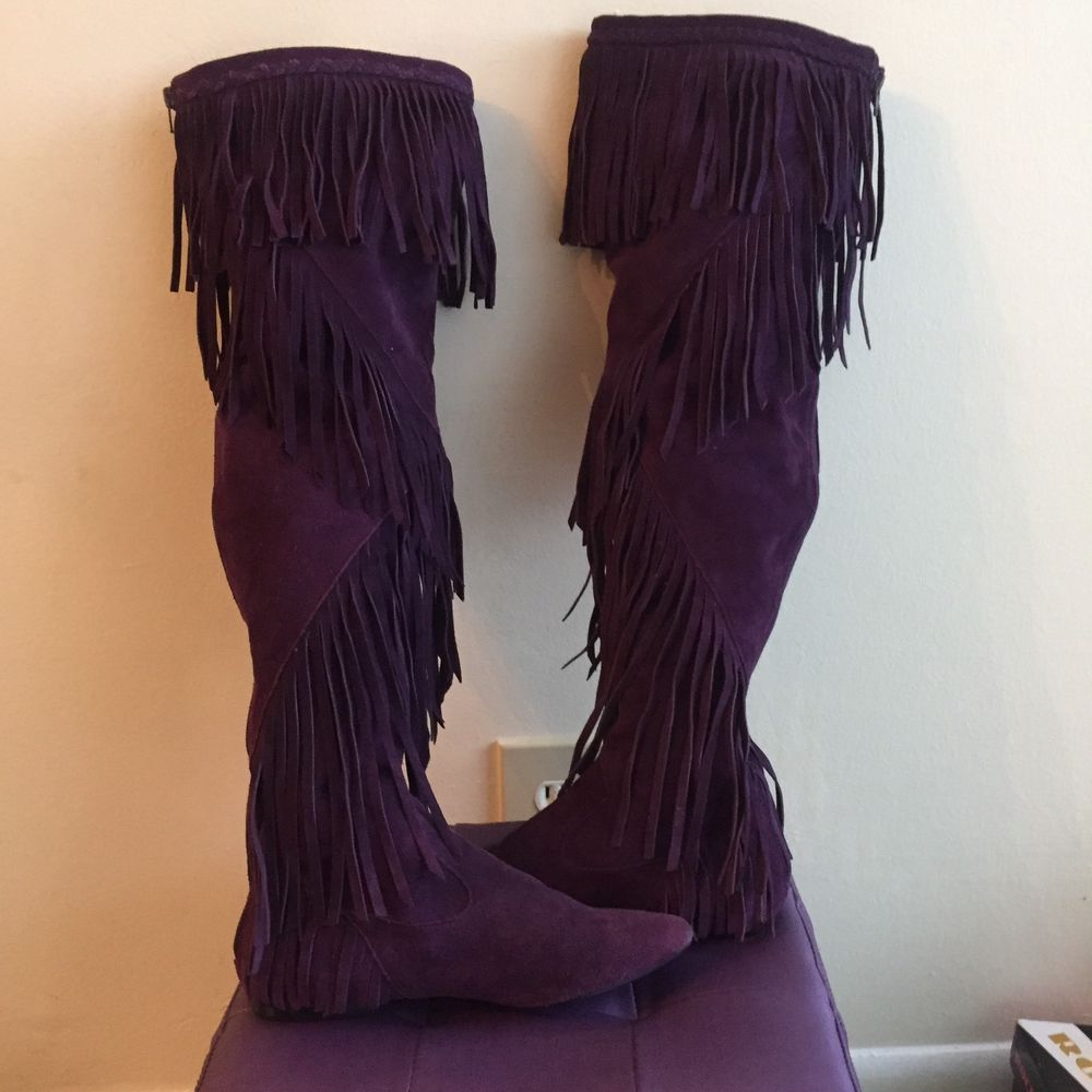 fb6bd566a02fdb Purple Sam Edelman Over The Knee Suede Fringed Uri Moccasin Boots Size 7.5   SamEdelman  Fringe
