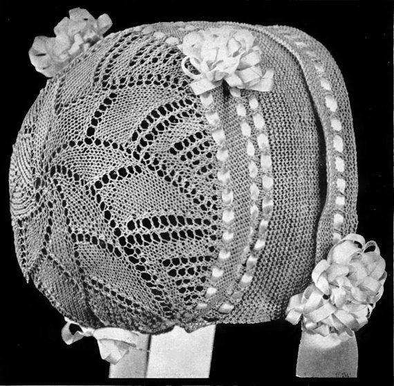 Vintage Knit Baby Bonnet/Hat Pattern by DollBabiesReborns on Etsy ...