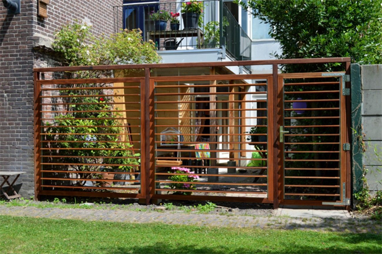 Tuin schutting lamellen open urban terrace pinterest for Schutting tuin