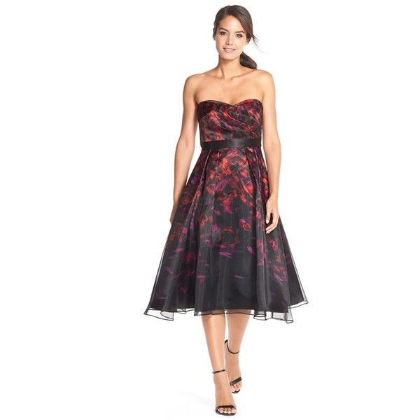 cee339d87ff Aidan Mattox Floral Satin Fit   Flare Dress ( 495) ❤ liked on Polyvore  featuring dresses