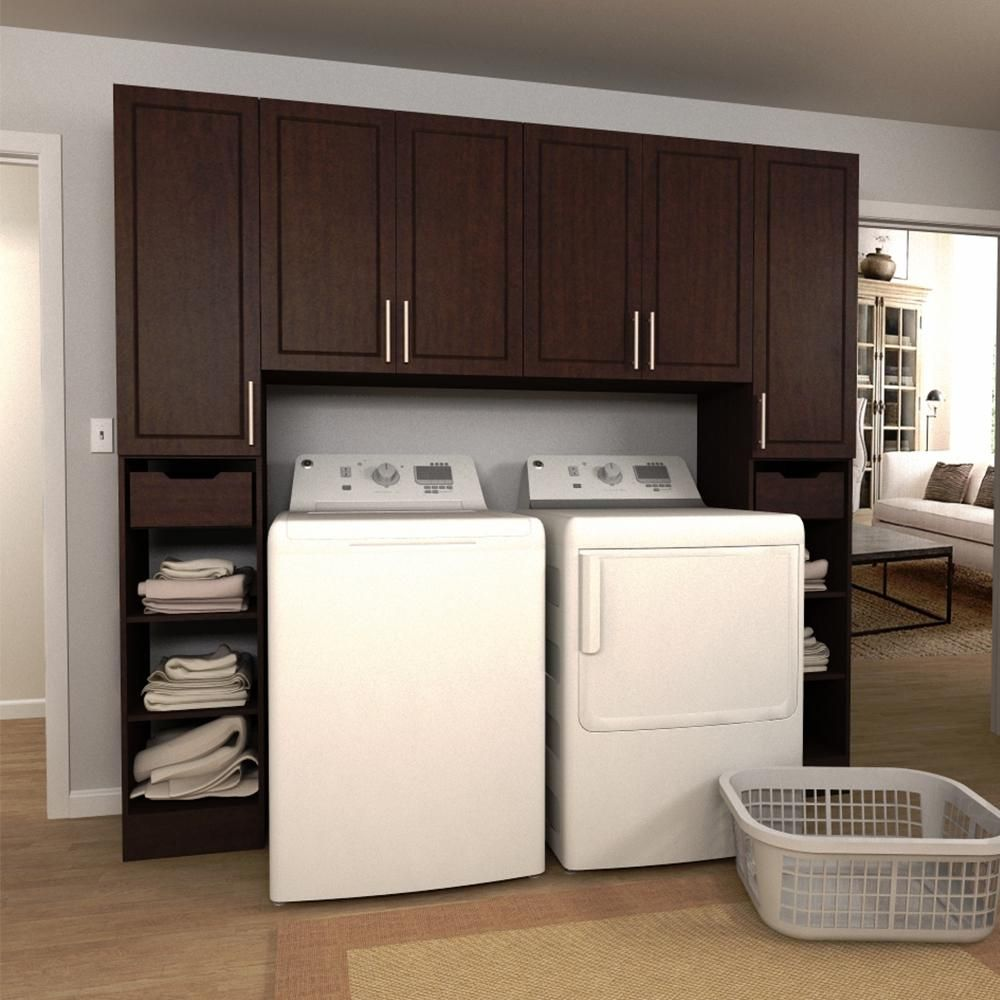 W Mocha Brown Tower Storage Laundry Cabinet Kit