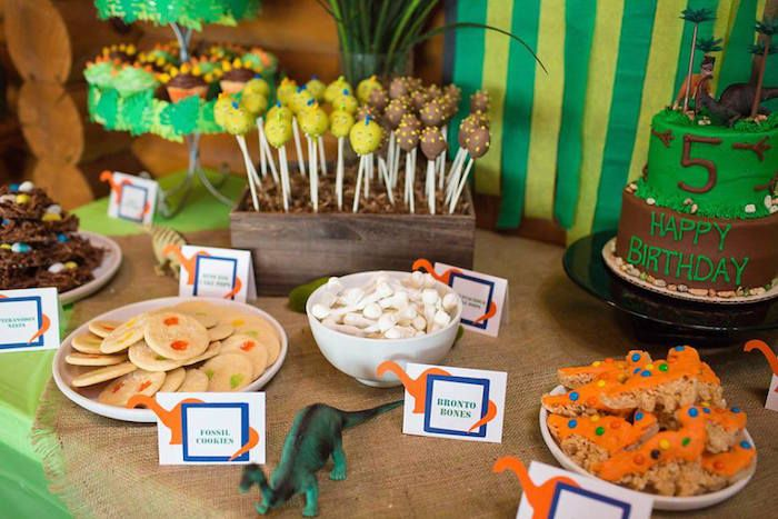Stomp On Over For A Roaring Good Time In This Dinosaur Birthday Party At Karas Ideas The Sweets Games And Decor Are Amazing