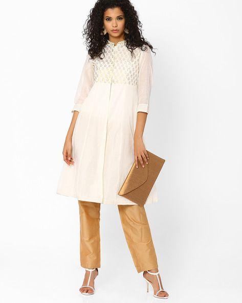 3f9fd32b66 Buy White AJIO Anarkali Kurta Suit Set | AJIO | kurta | Suits, How ...