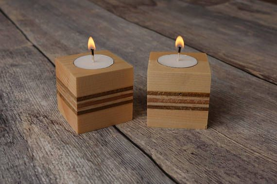 This Is A Set Of Two Wooden Tealight Candle Holders Hand Made With A Nice Layered Wood Effect In The Middle Eac Tea Lights Tea Light Holder Tea Light Candles