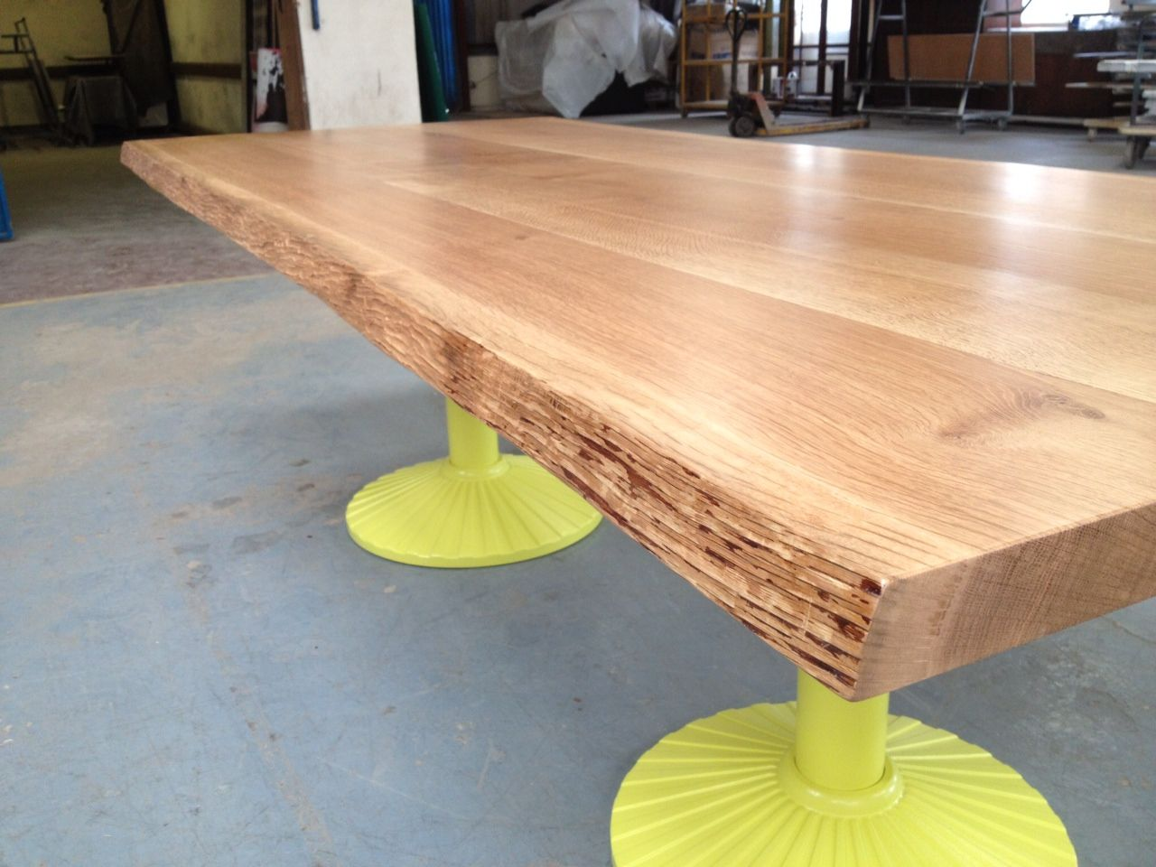 Solid oak dining table with woodworm treated live edge ...