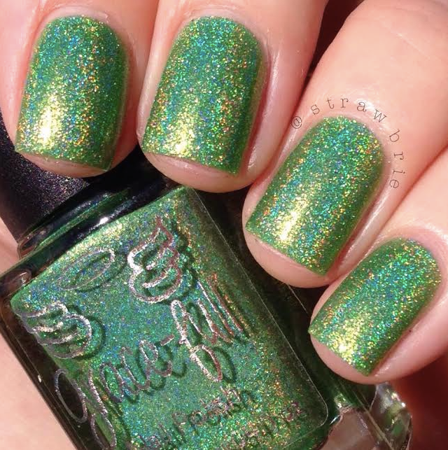 From Grace-full Nail Polish: <br>Lime Splash – a lime linear holo ...
