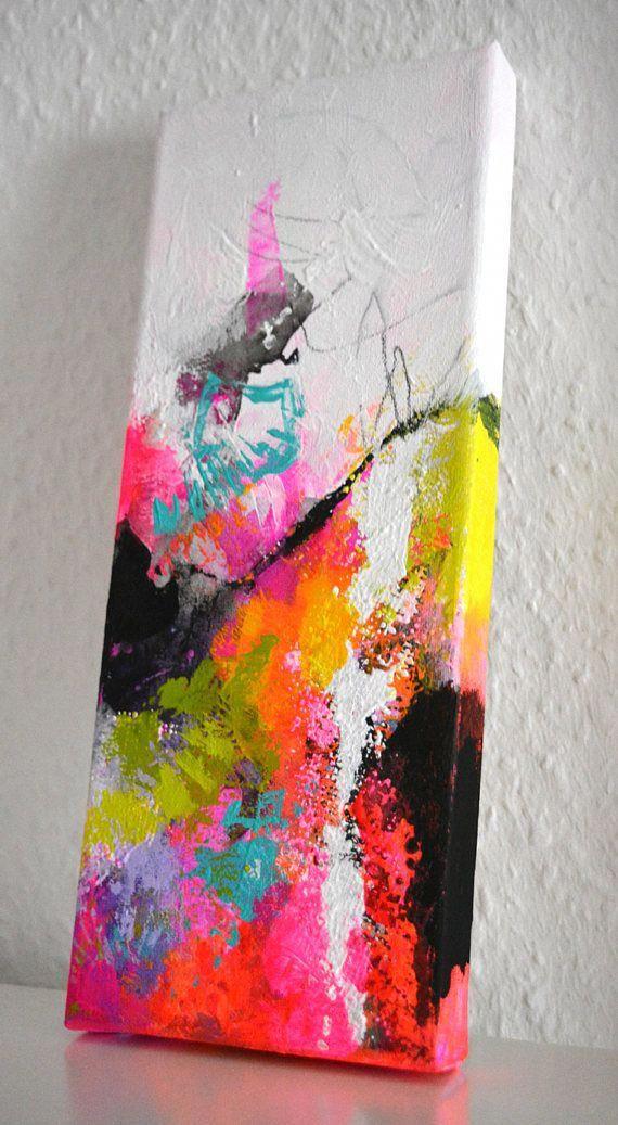 Small Narrow Art Studio Living Room Design: Original Small Abstract Painting On Canvas, Abstract Art
