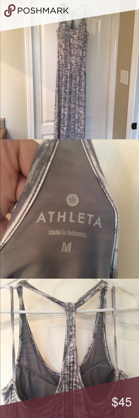Athleta Grey And White Maxi Dress Size Medium White Maxi