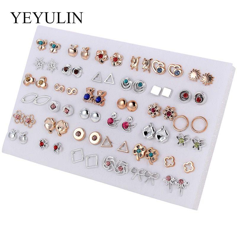 36 Pares Mujeres Niñas Zarcillos Aretes Diamante Cristal Flor Joyería Conjunto de Regalo