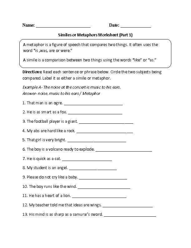 Worksheet Metaphor Worksheets metaphor worksheets 5th grade metaphors simile worksheet delwfg com