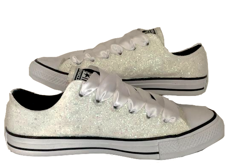 TAKE  10 OFF CODE  SPARKLE10 www.glittershoeco.com Womens Sparkly White or  Ivory Glitter Converse All Stars Bride Wedding gift Shoes Sneakers 73c5a9b7b