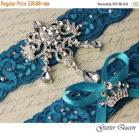 Turquoise Lace Keepsake Garter ~ Shabby Wedding Garter Rhinestone and Pearl Accents ~ Something Blue