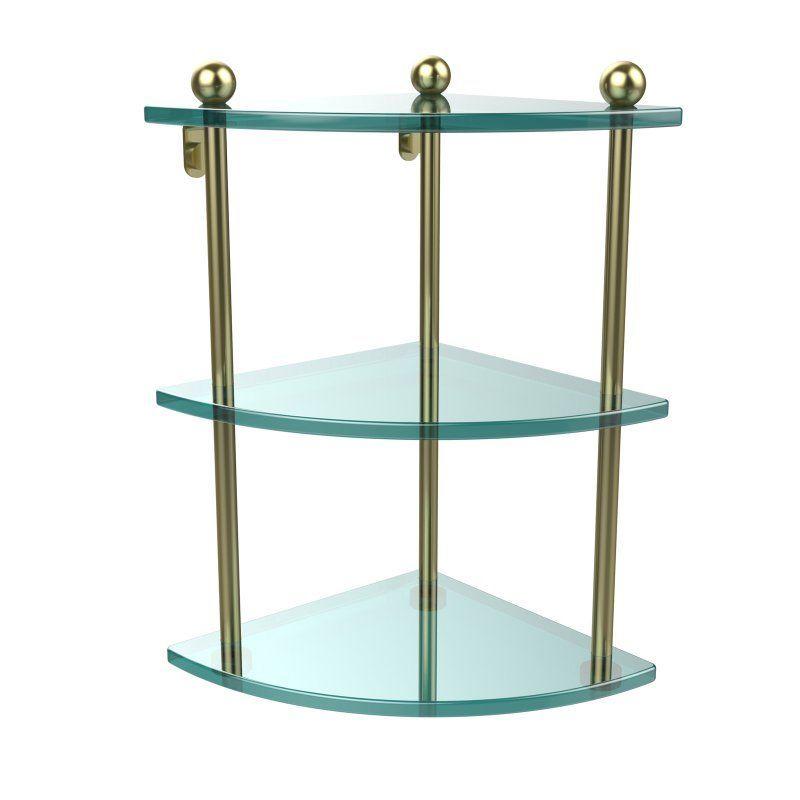 Allied Brass Three Tier Corner Glass Shelf - PR-6-SBR
