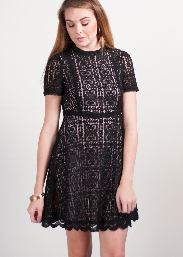 Move from cocktail hour to holiday parties in this fit and flare lace dress from BB Dakota.