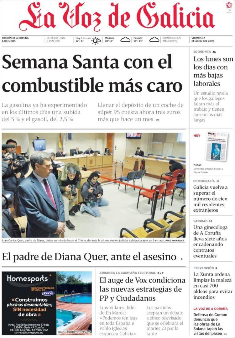 La Voz De Galicia 12 De Abril De 2019 Portadas De Periodicos Portadas Gallegos