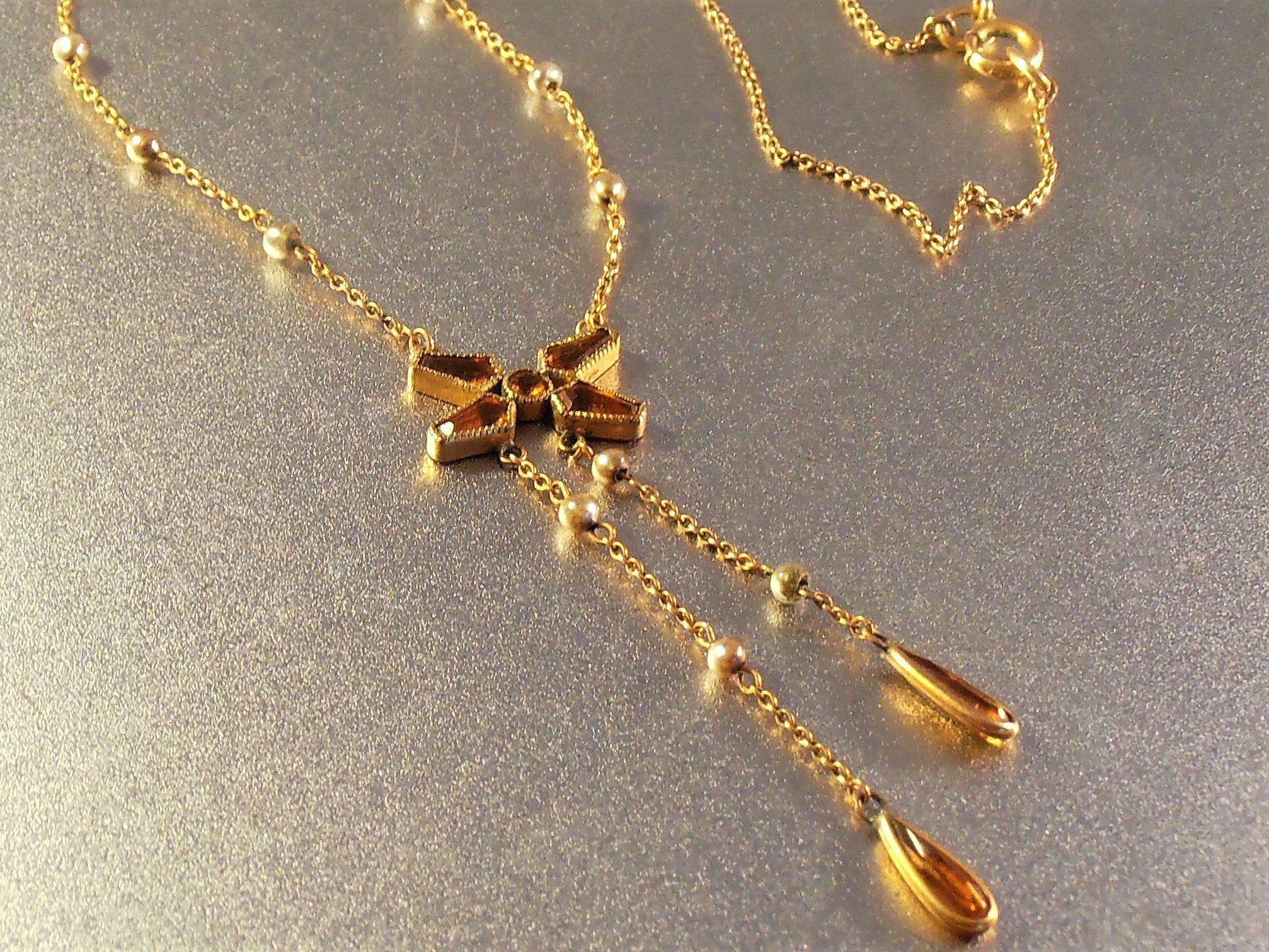 Victorian Citrine Glass Seed Pearl Lavalier Drop Necklace Stylized Butterfly Open Back Bezel Set