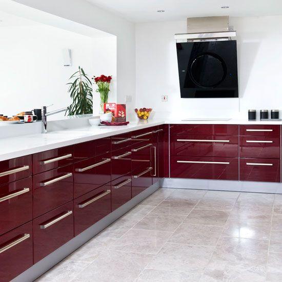 Modern burgundy kitchen tour | Kitchen decor, Home decor ...