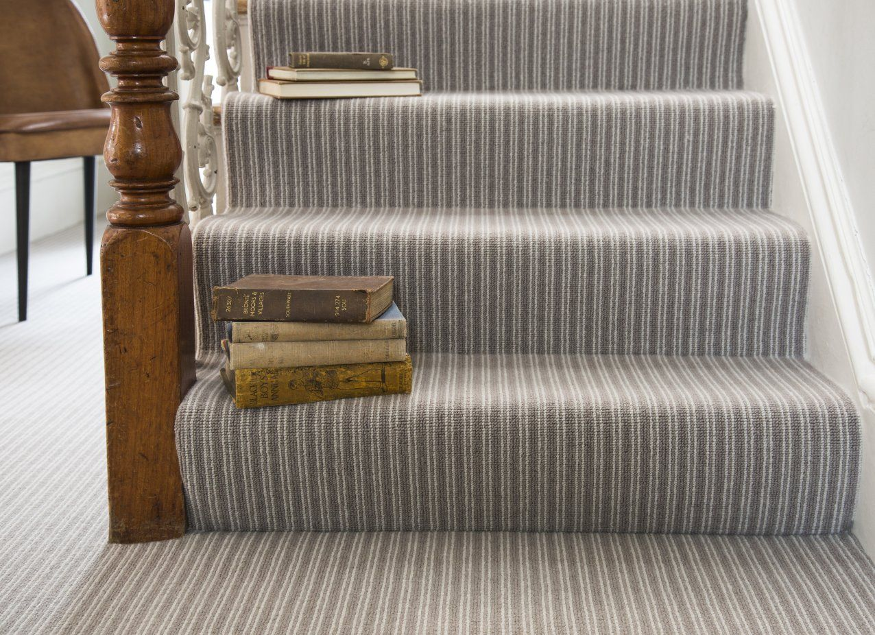 Add Instant Interest To Stairs Hallways And Living Spaces With The Boucle Neutrals Collection De Striped Carpet Stairs Carpet Stairs Round Carpet Living Room