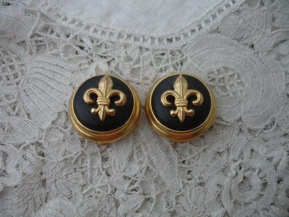 Joan rivers earrings fleur de lys by Nkempantiques on Etsy