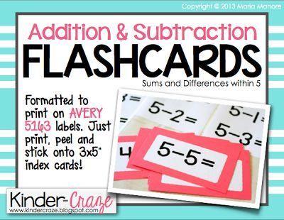 A Kindergarten Teaching Blog Flash Card Label Freebie Math Fact Fluency Math Facts Addition And Subtraction