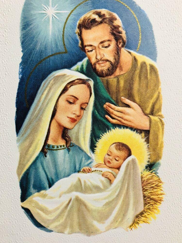 Vintage 60s Christmas Card Beautiful Textured Mary And Joseph Adoring Baby Jesus Baby Jesus Pictures Blessed Mother Mary Jesus And Mary Pictures