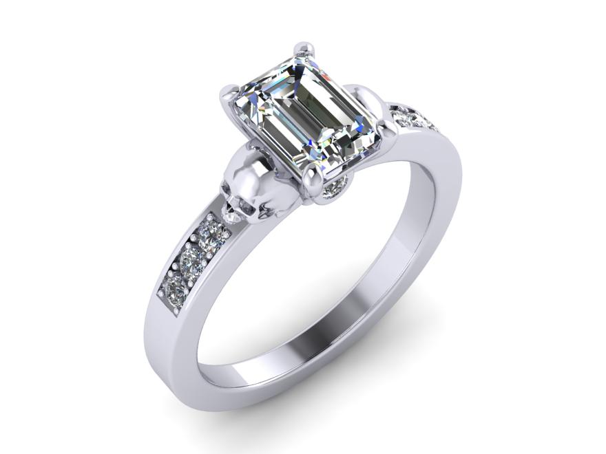 Secret Skull Engagement Ring-UDINC0341