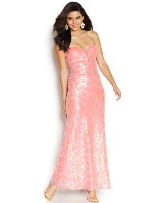 As U Wish Juniors' Sequin Strapless Dress | macys.com