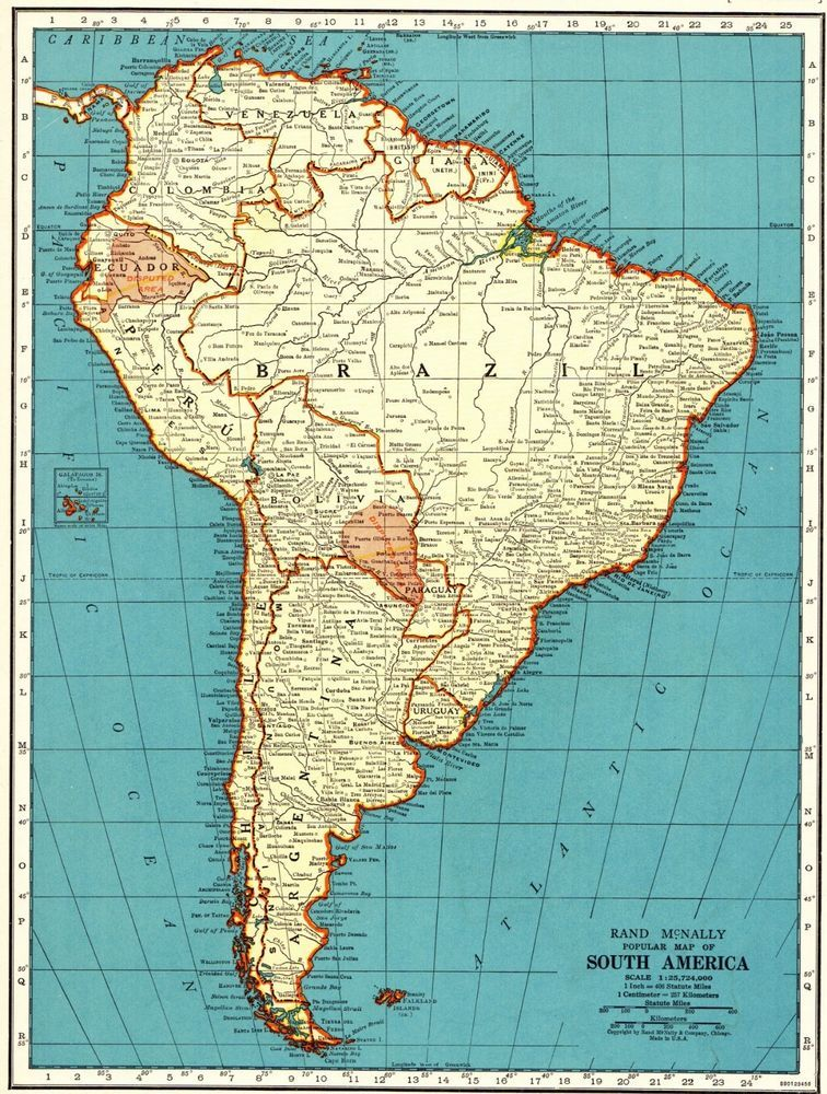 1940 Antique South America Map Vintage Map Of South America