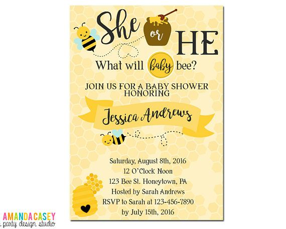 What Will It Bee Gender Reveal Invitations Bumble Bee Baby